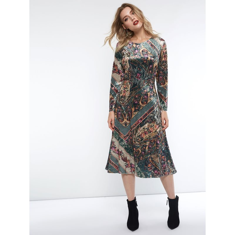 Mid-Calf Print Pullover Casual Womens Casual Dress