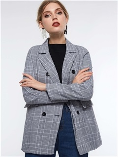 Long Sleeve Plaid Notched Lapel Fall Women's Blazer