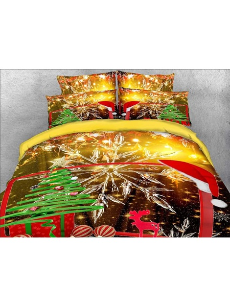 Christmas Gift and Snowflake Printed Cotton 3D 4-Piece Bedding Sets/Duvet Covers