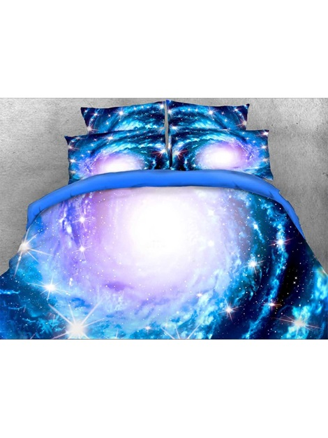 Spiral Galaxy and Stars Printed 3D 4-Piece Blue Bedding Sets/Duvet Covers