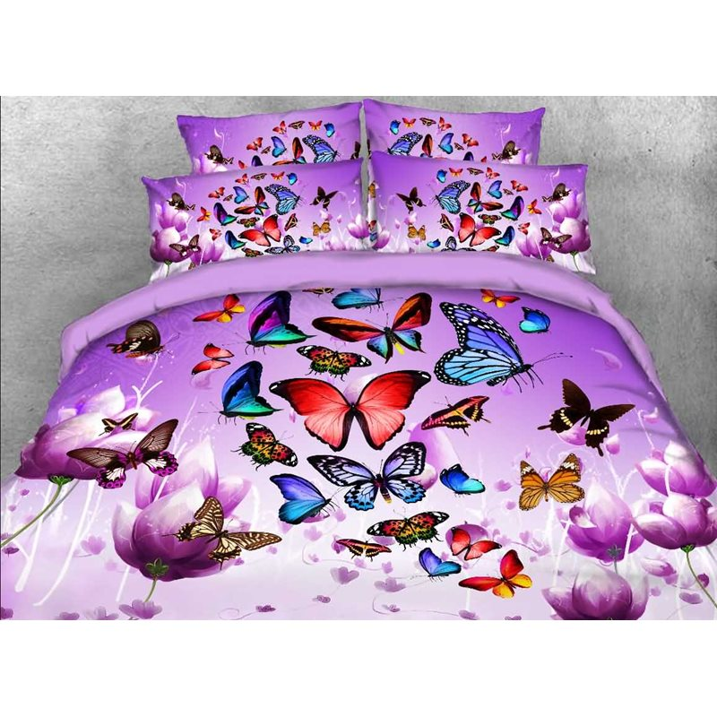 Colorful Butterflies and Purple Flower Printed 3D 4-Piece Bedding Sets/Duvet Covers