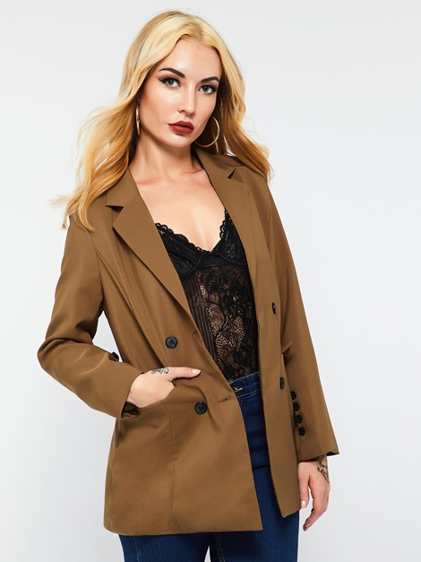 OL Double-Breasted Notched Lapel Plain Women's Blazer