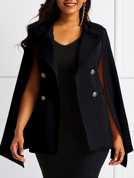 Cape Pocket Double-Breasted Mid-Length Women's Blazer