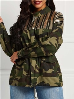 Camouflage Sequins Zipper Loose Mid-Length Women's Jacket 11