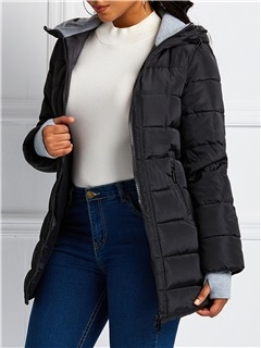 Slim Zipper Thick Mid-Length Women's Cotton Coat 3