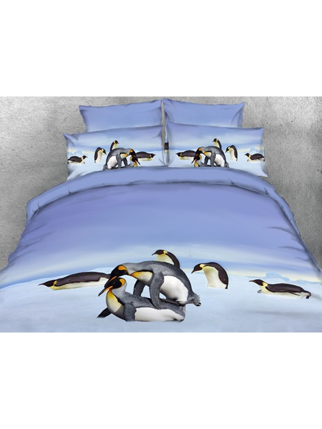 Penguins Playing in Snow Printed 4-Piece 3D Bedding Sets/Duvet Covers