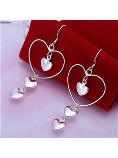 Heart-Shaped Bronze Drop Earrings 1