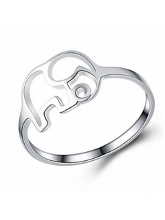 Hollow Out Elephant Shape Silver Plated Ring 2