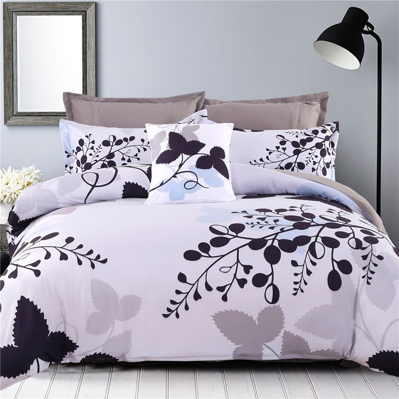 Adorila 60S Brocade Black Leaves Branches Pattern Cotton 4-Piece Bedding Sets/Duvet Cover