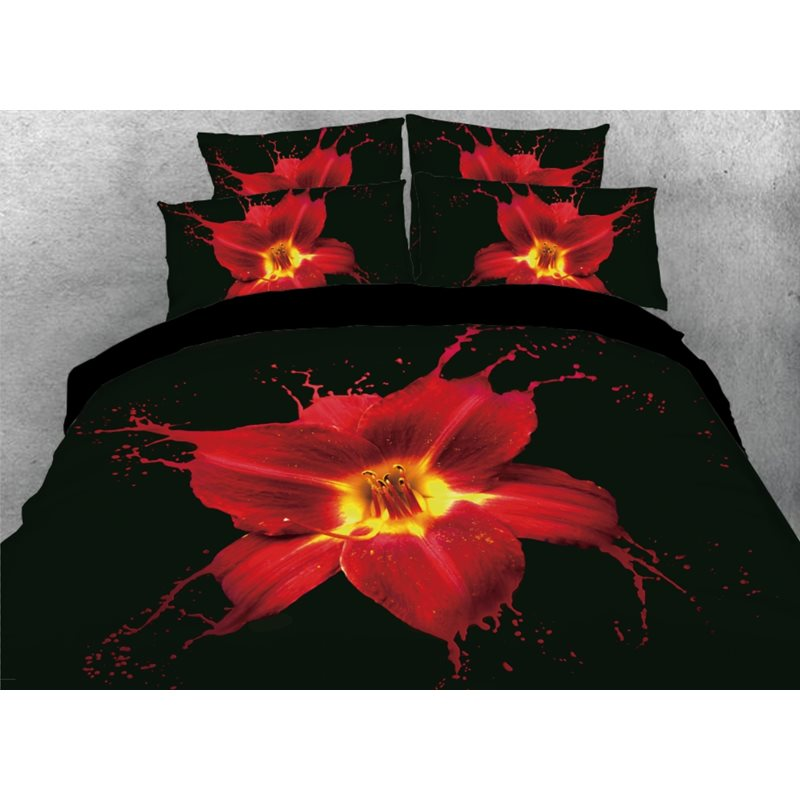 Art Painting Red Lily Printed 4-Piece Black 3D Bedding Sets/Duvet Covers