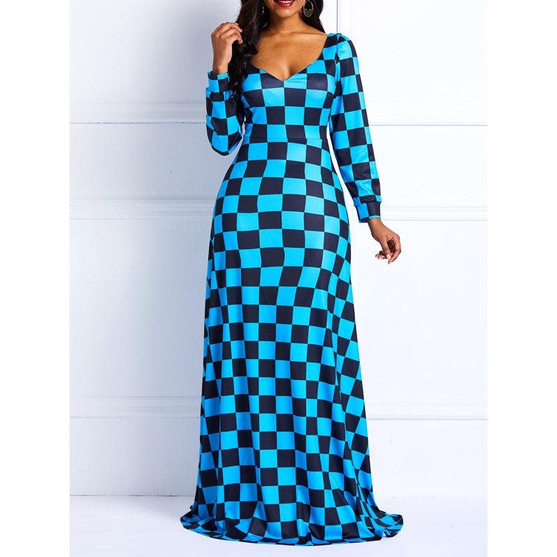 Long Sleeve Pullover Color Block V Neck Womens Maxi Dress