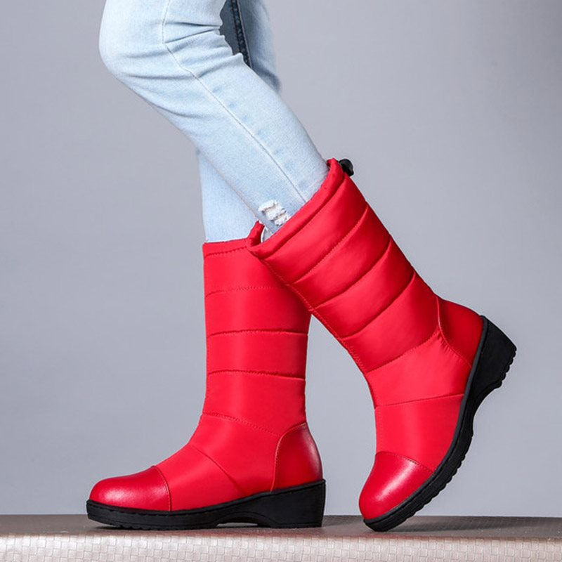Elastic Round Toe Plain Waterproof Womens Snow Boots