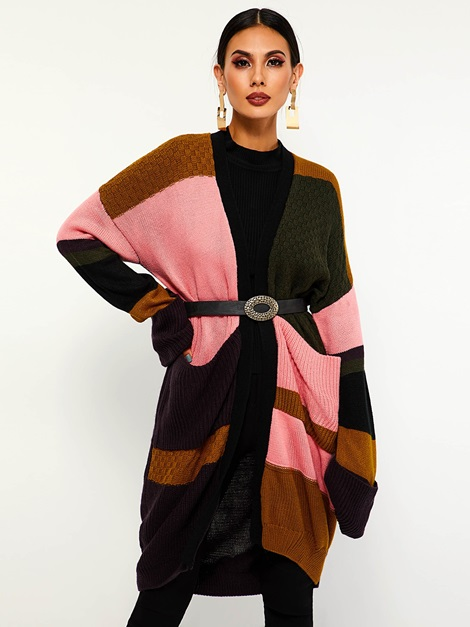 Patchwork Color Block Mid-Length Women's Cardigan