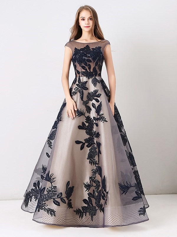 A-Line Lace Appliques Long Evening Dress 2019 фото