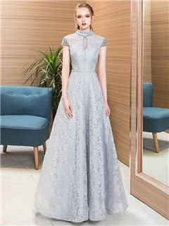 A-Line Beading Lace High Neck Evening Dress 2019 5