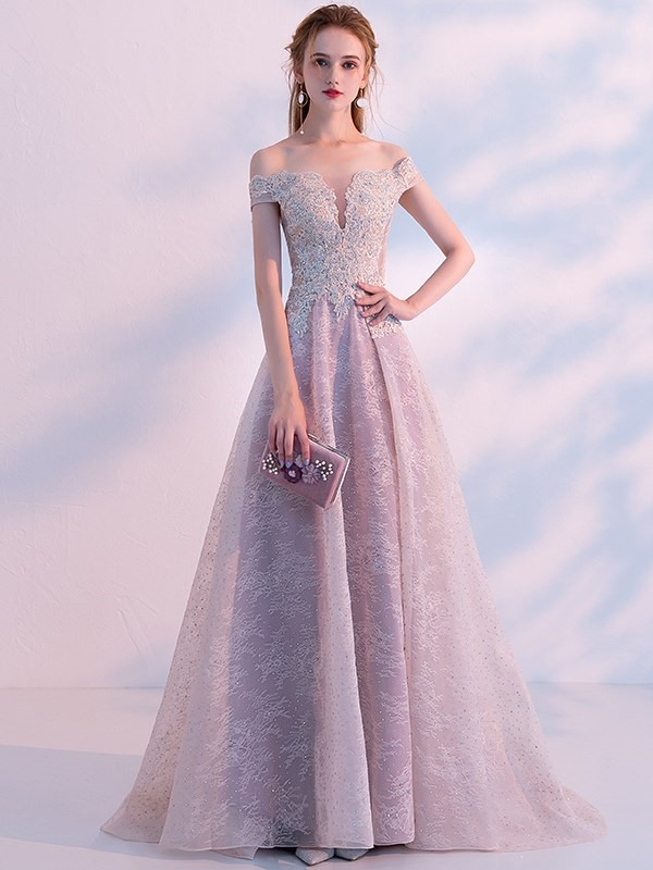 A-Line Off-the-Shoulder Appliques Beading Lace Evening Dress 2019 фото