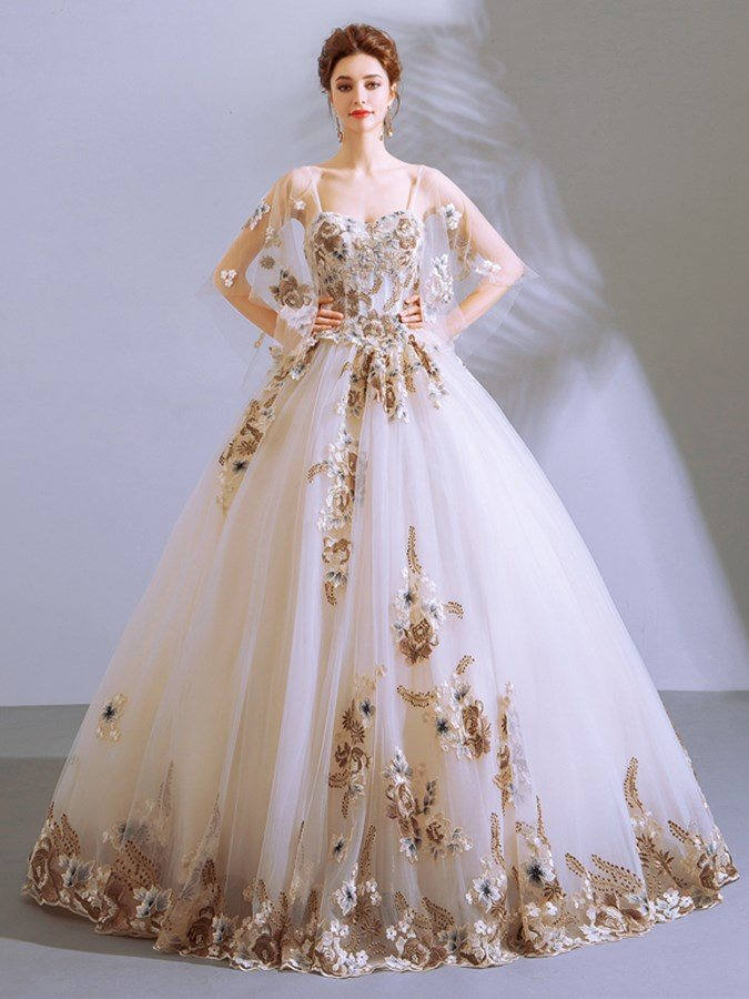 Appliques Embroidery Sweetheart Quinceanera Dress