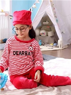 Striped Letter Cartoon Flannel Girls' Pajama Set