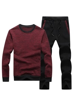 Pullover Hoodie Pants Color Block Men's Sports Suit 3