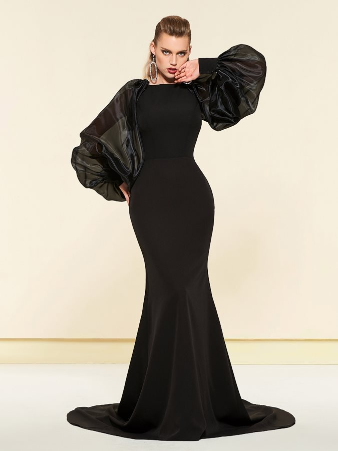 Vintage Mermaid Long Sleeves Evening Dress 2019