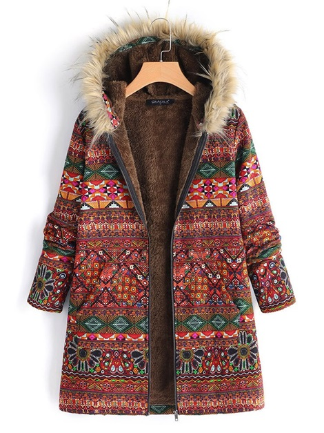 Thick Print Mid-Length Women's Cotton Padded Jacket