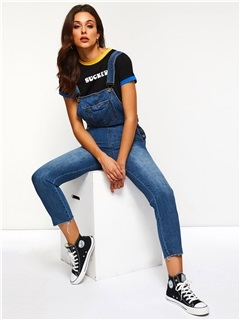Plain Straight Suspenders Loose Women's Denim Overall