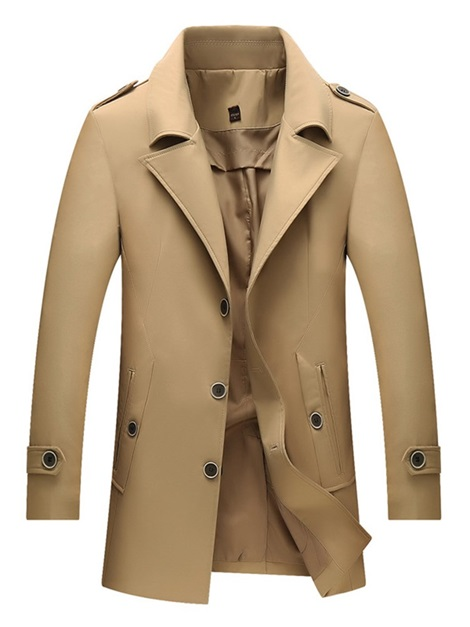 Notched Lapel Plain Casual Men's Trench Coat