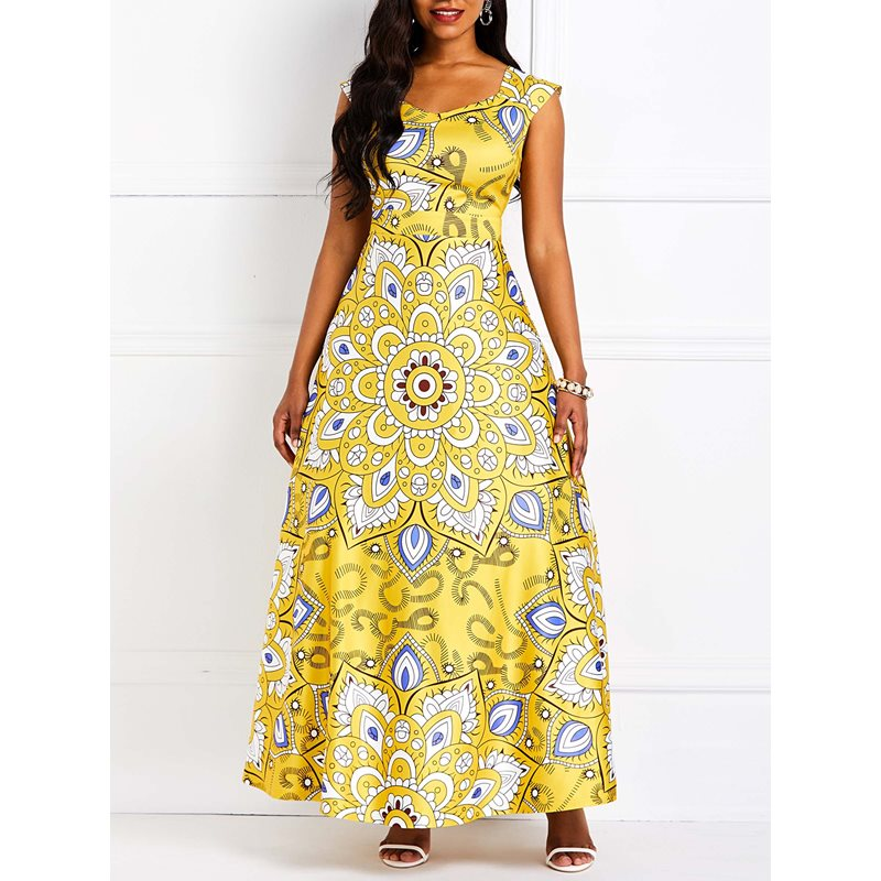 Sleeveless African Fashion Floral Backless Womens Maxi Dress