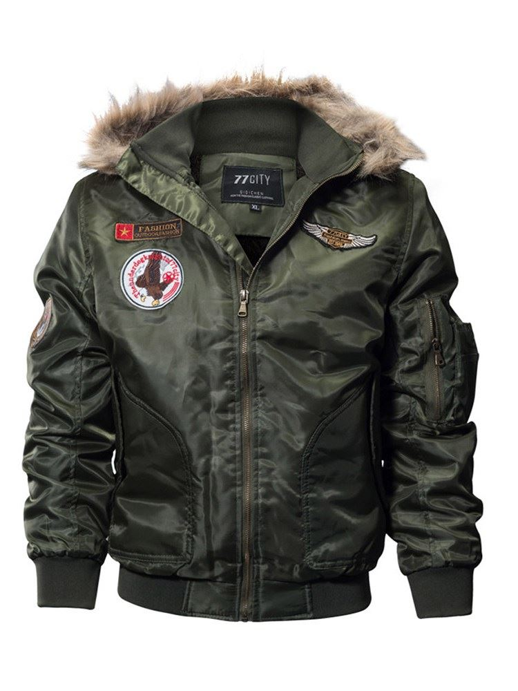 Thick Appliques Hooded Bomber Womens Cotton Padded Jacket