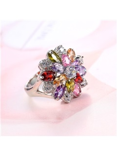 Colored Floral Shape Bronze E-Plating Alloy Ring 1