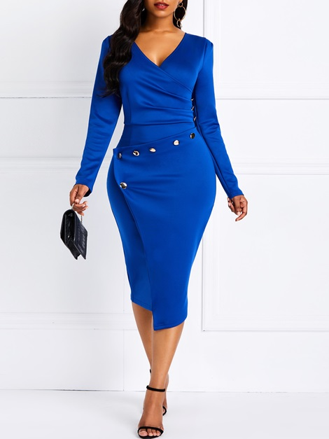 V-Neck Bead Pullover Casual Women's Bodycon Dress