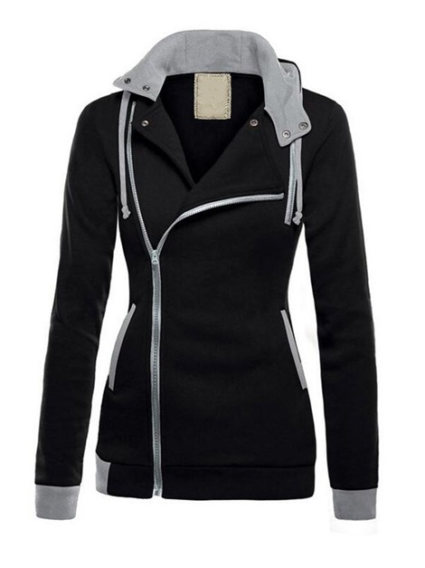Slim Color Block Zipper Long Sleeve Women's Hoodie