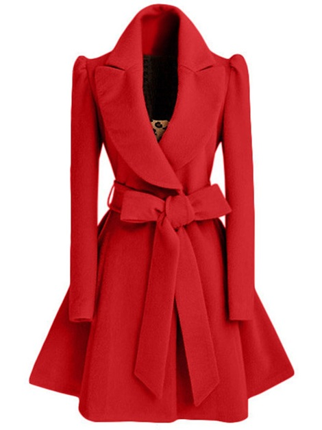 Belt Wool Blends Notched Lapel Women's Wrapped Overcoat