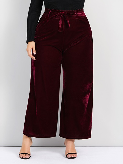 Plus Size Plain Loose Wide Legs Women's Casual Pants