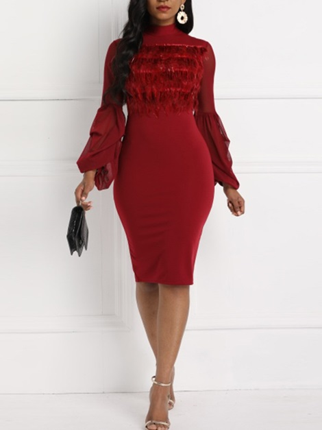Lattern Sleeve Fur Collar Tulle Women's Bodycon Dress