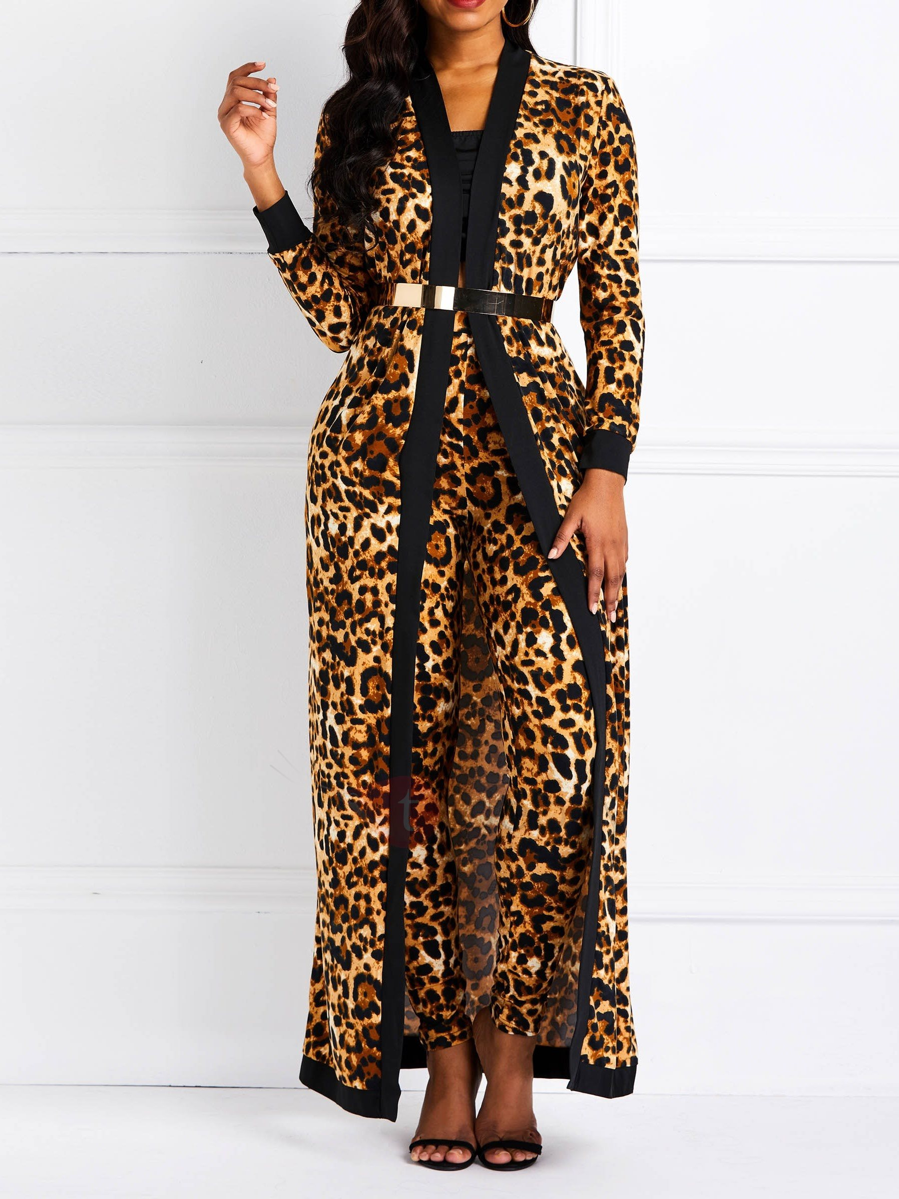 Animal Print Leopard Pants Trench Coat Womens Two Piece Set