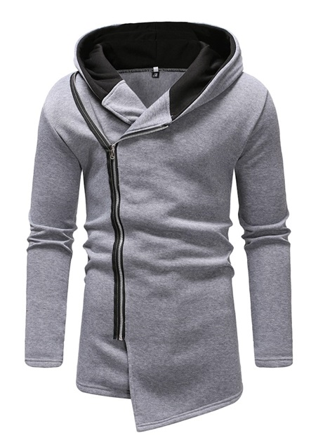 Hooded Cardigan Asymmetric Plain Slim Men's Hoodie