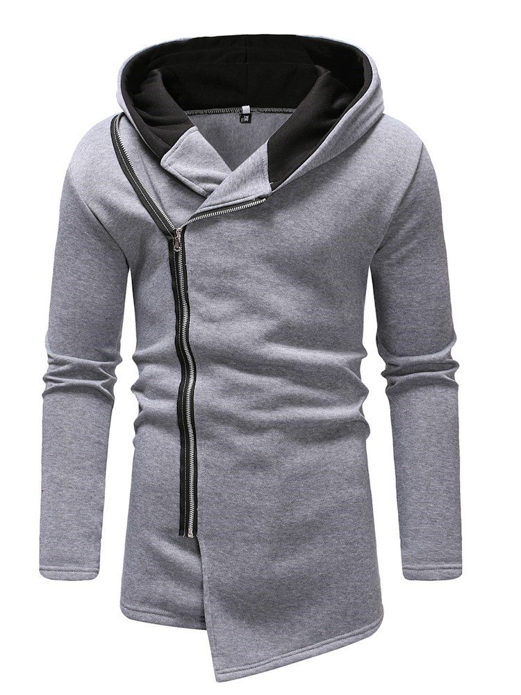 Hooded Cardigan Asymmetric Plain Slim Mens Hoodie