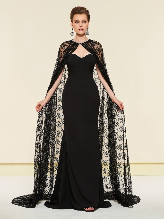 Mermaid Mother of the Bride Dress with Lace Cloak