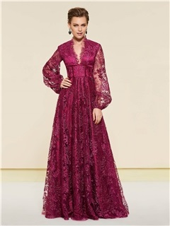 V-Neck Long Sleeve Lace Mother of the Bride Dress 7