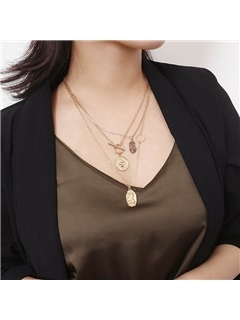 Gold Layered Vintage Figure Pendant Coin Necklace 4
