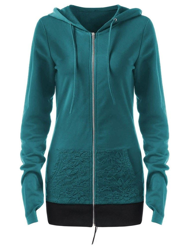 Lace-Up Zipper Long Sleeve Mid-Length Womens Hoodie