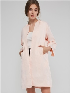Flare Sleeve Wrapped Fall Round Neck Women's Overcoat