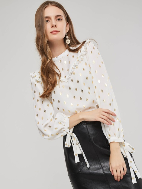 Polka Dots Stand Collar Pleated Sweet Long Sleeve Women's Blouse