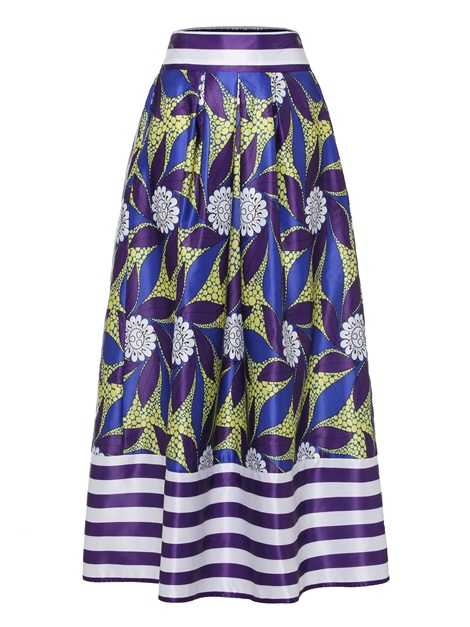 Floral Print Stripe Ankle-Length A-Line Women's Skirt