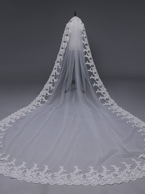 Applique Edge Cathedral Pearls One-Layer Wedding Veil