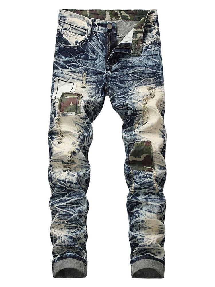 Hole Worn Mens Ripped Jeans фото