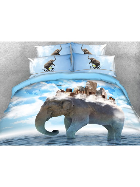 High Buildings on the Back of the Elephant Printed 4-Piece 3D Bedding Sets/Duvet Covers