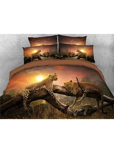Leopard Family Relaxing on the Sunset Digital Printed 3D 4-Piece Bedding Sets/Duvet Covers