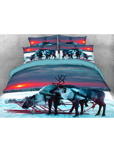 Reindeer in the Setting Sun Printed 3D 4-Piece Bedding Sets/Duvet Covers
